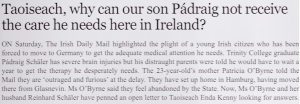 The Irish Daily Mail's (11 March 2014) editorial comment on Pádraig's parents' letter to the Taoiseach.